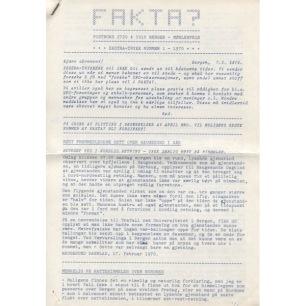 Fakta? Ekstra-trykk/Newsletter (1970-1971) - 1970 No 1