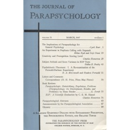 Journal of Parapsychology (the) (1967-1973)