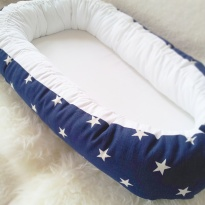 White stars - Navy with satin ribbon, Original Model