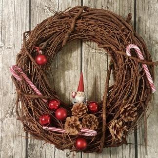 Julkrans med polkagris - Julkrans med polkagris, större