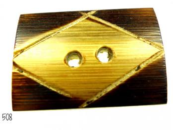 Rektangulär handgjord träknapp -