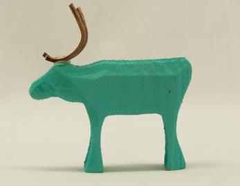 Ren stående - Reindeer standing - ljusblå - light blue