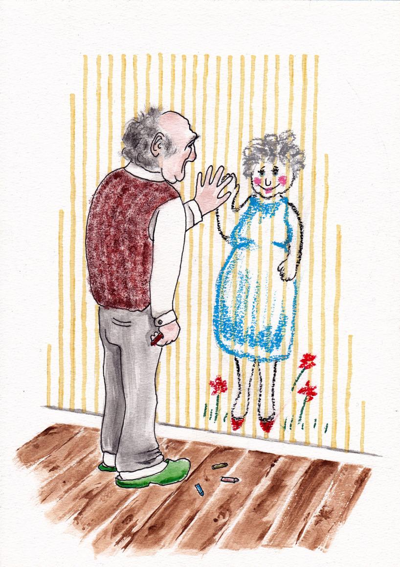 Kärlek på tapeten / Målad med oljepastell, tusch och akvarell
