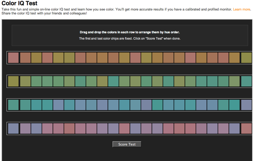 Skärmdump/ Xritephoto Färg-IQ test