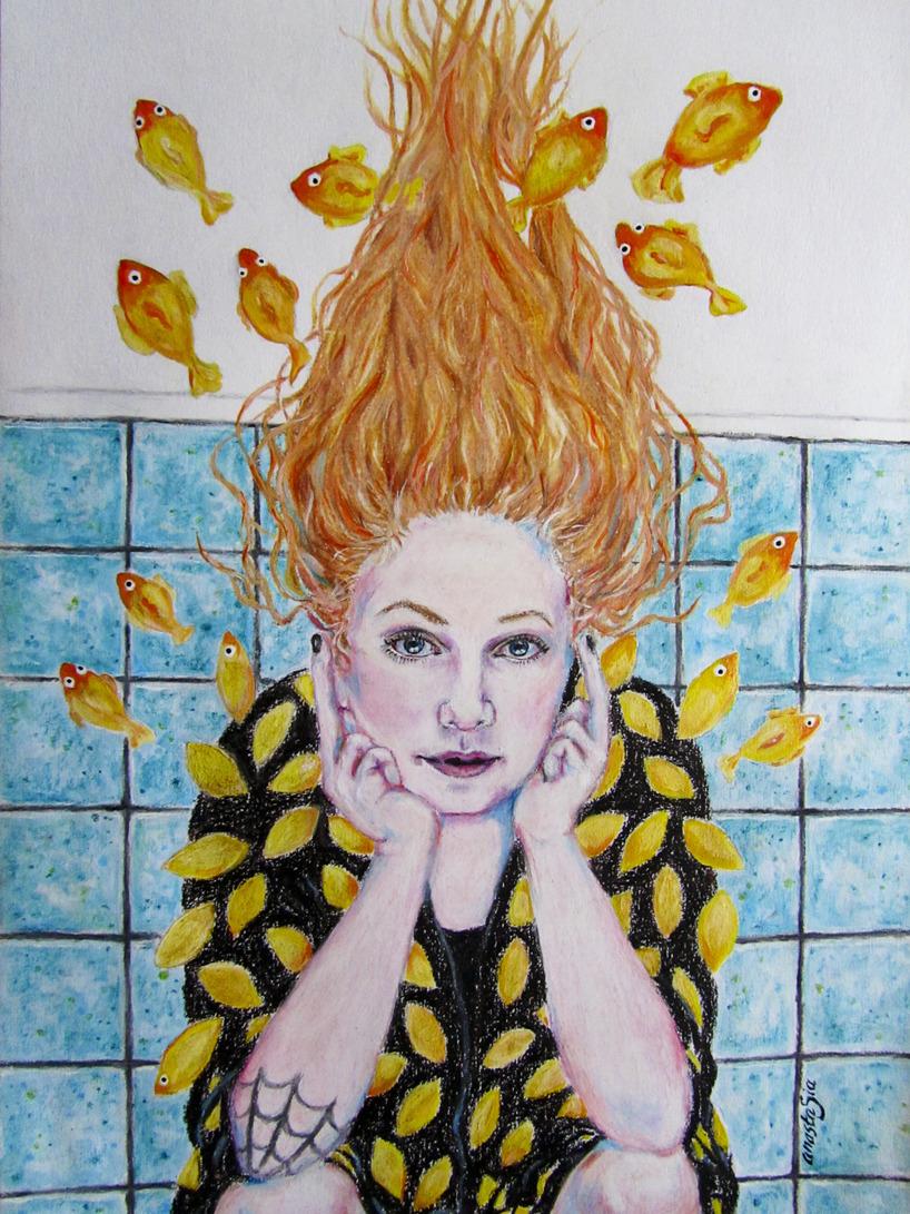 Karin känd för bloggen Karins konstgrepp/ målad med vaxkrita, akrylfärg och tusch på akvarellpapper i A3-format