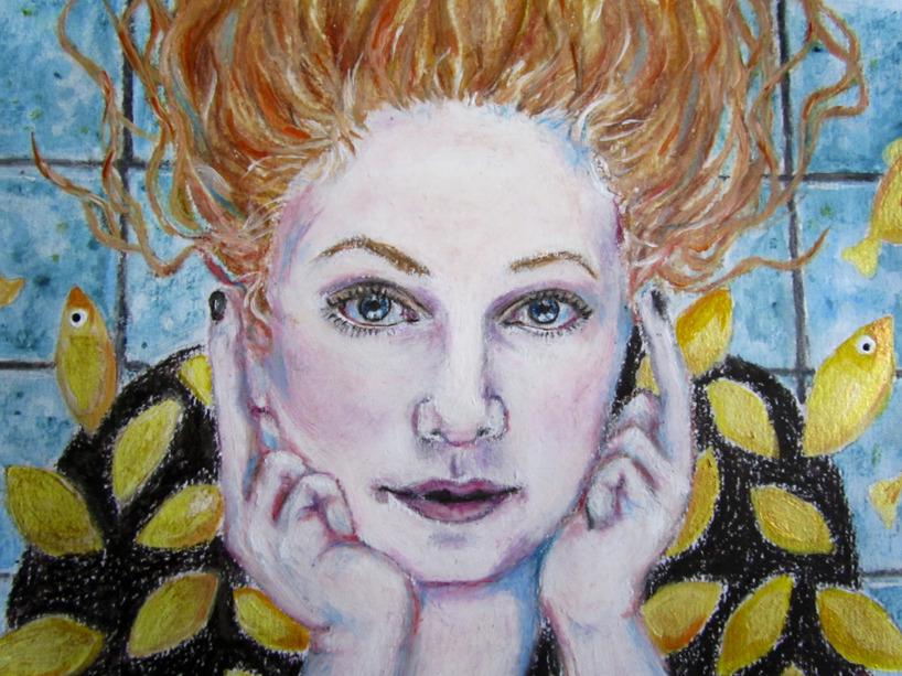 Karin, känd för bloggen Karins konstgrepp/ målad med vaxkrita, akrylfärg, och tusch på akvarellpapper i A3-format