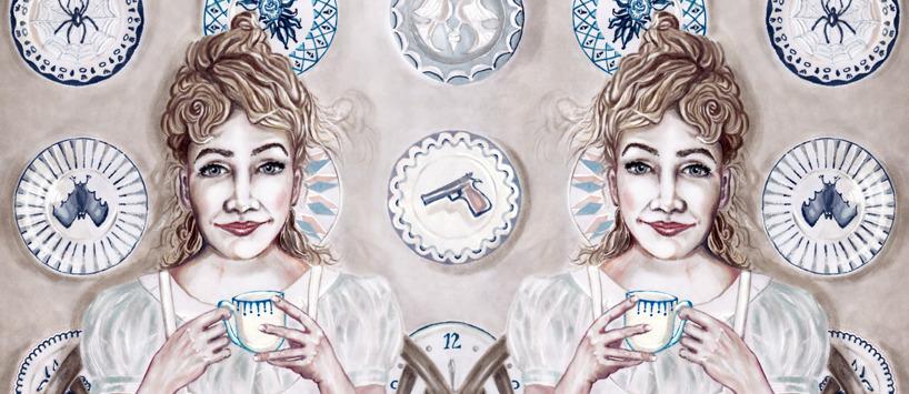 Spegelvänd Madame Porslin, detalj av teckning
