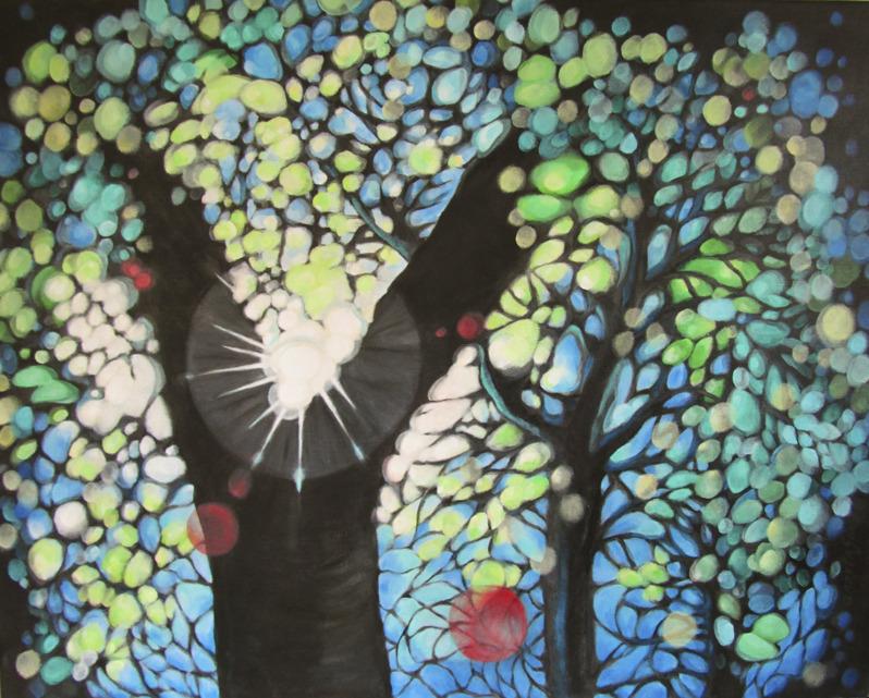 Solglimmer Akryl på duk  92 x 73 cm