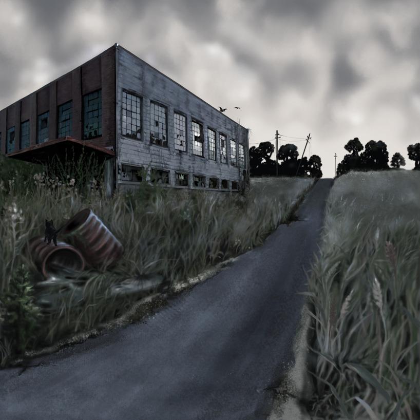Mörkt landskap målat i photoshop
