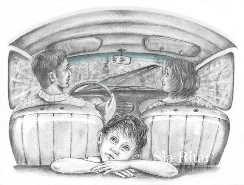 Bilfärd, Blyerts på A-3 akvarellark