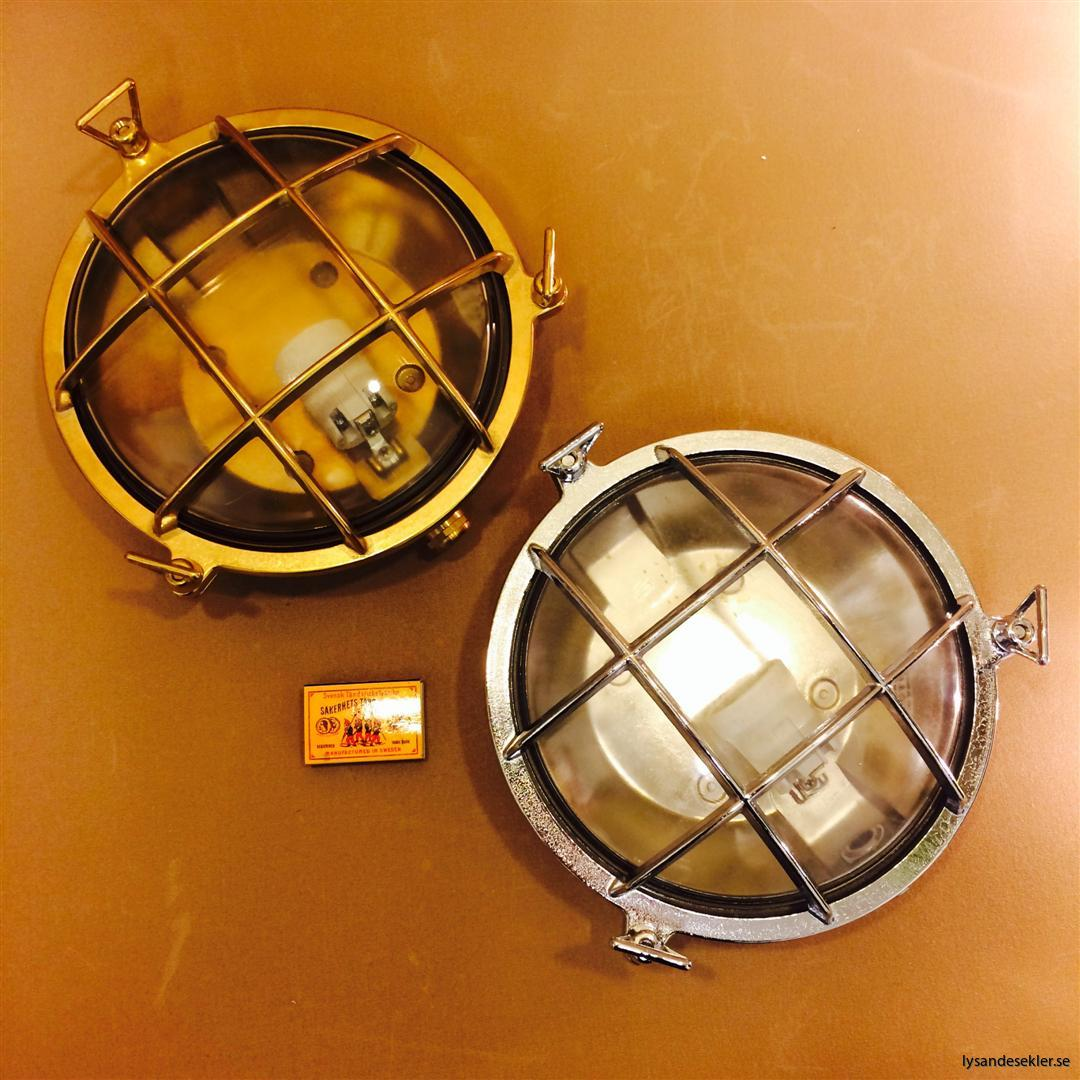elektrisk vägglampa mässing metall galler krom fartyg bår skepp (12)