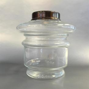 14''' hängoljehus (till bl.a. Torparelampor) glas/antikoxiderad (Oljehus till fotogenlampor) - 14''' hängoljehus antikoxiderad mässing