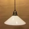 Opalvit 25 cm skomakarskärm med antikt/brunt tygsladdsupphäng - 250 mm vit skomakarelampa med tvinnat brunt tygsladdsupphäng