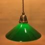 Antik/brun tygsladd med mörkgrön 25 cm skomakareskärm