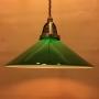 Antik/brun tygsladd med mörkgrön 25 cm skomakareskärm - 250 mm grön skomakarelampa med tvinnat brunt tygsladdsupphäng
