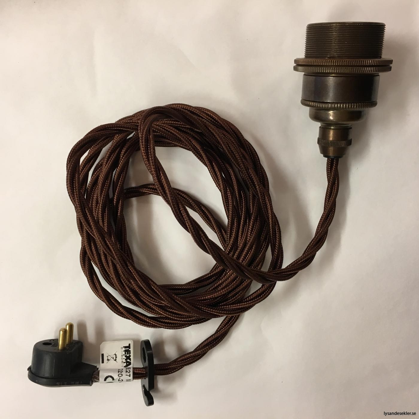 tygsladd textilssladd lampupphäng med 2 ringar utan skruvar för skärm eller glödlampa (33)