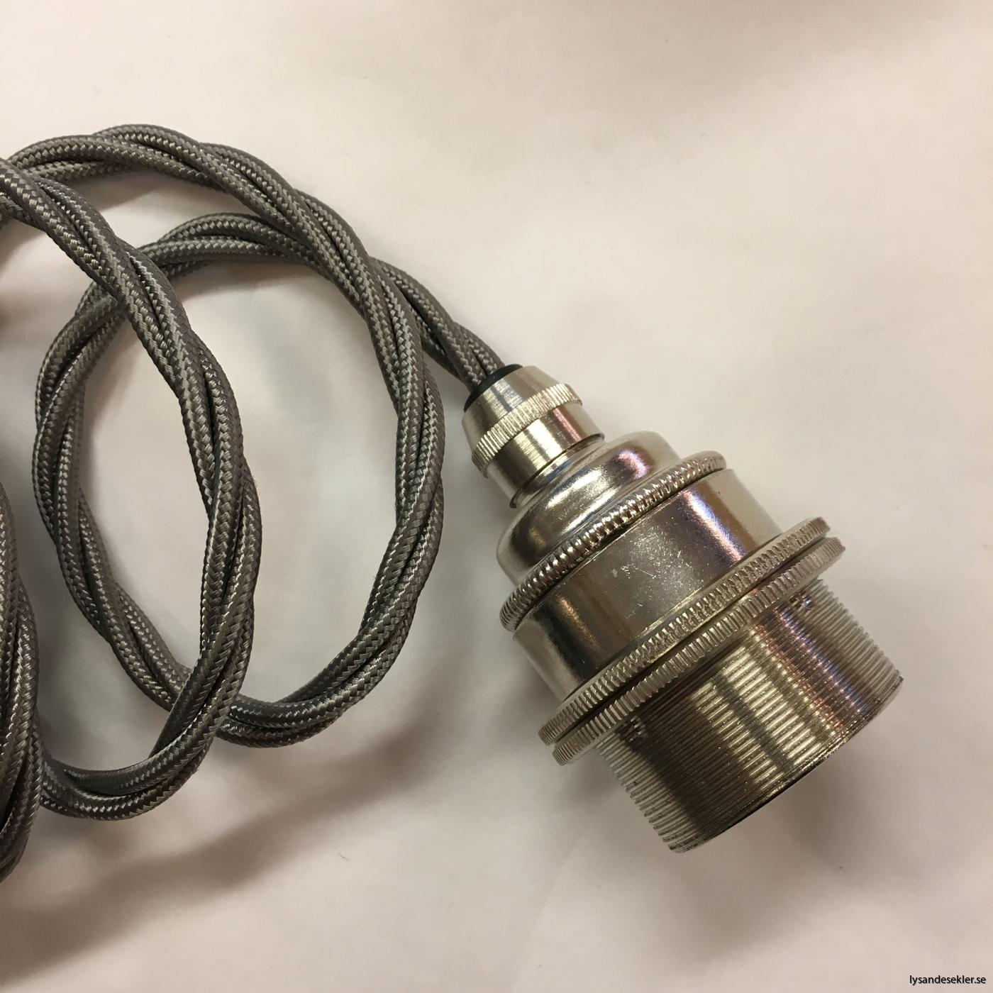 tygsladd textilssladd lampupphäng med 2 ringar utan skruvar för skärm eller glödlampa (20)