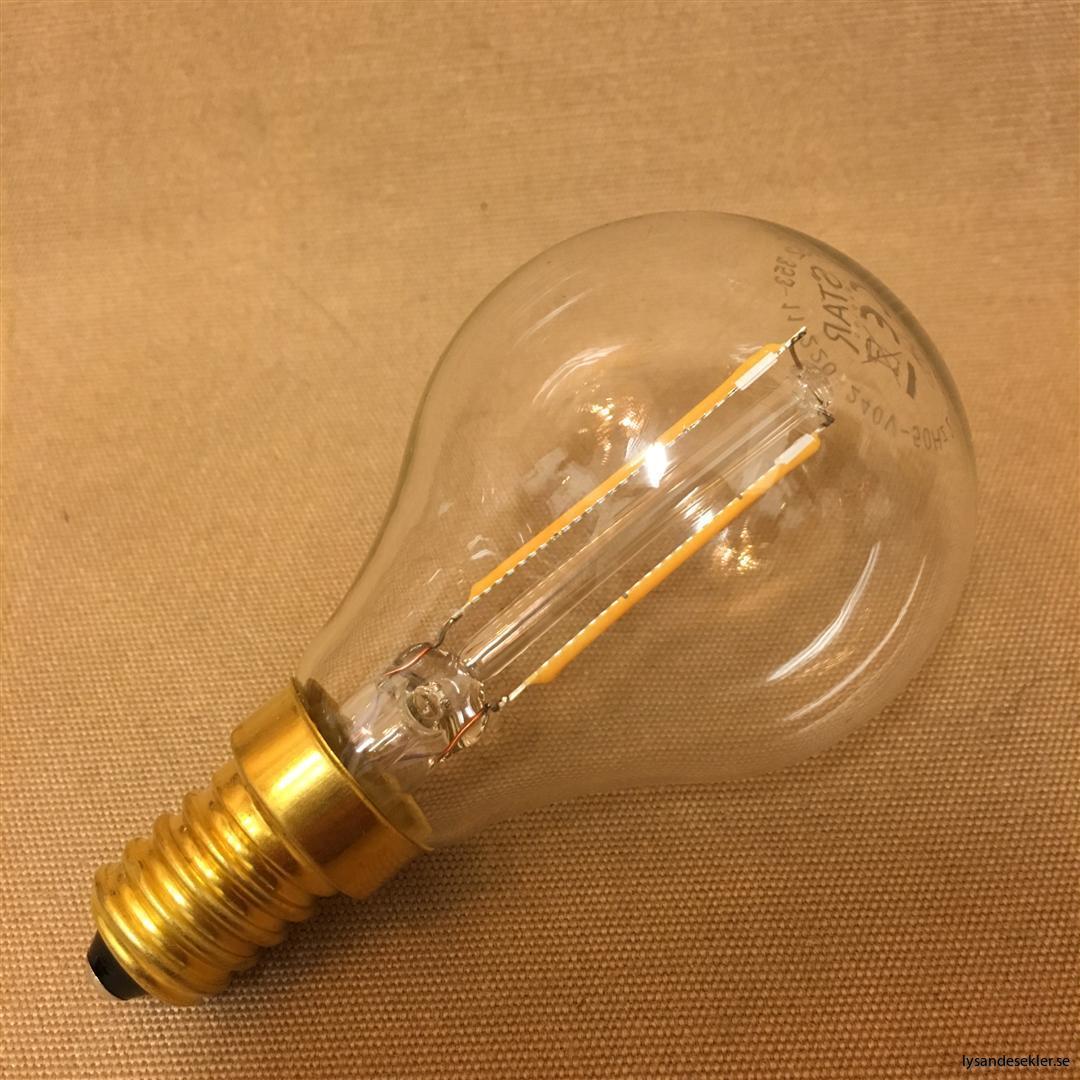 glödlampa e14 litet klot 2 w koltråd filament LED
