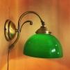 Vägglampa jugend med skålformad mörkgrön klockskärm - Vägglampa jugend med skålformad mörkgrön klockskärm