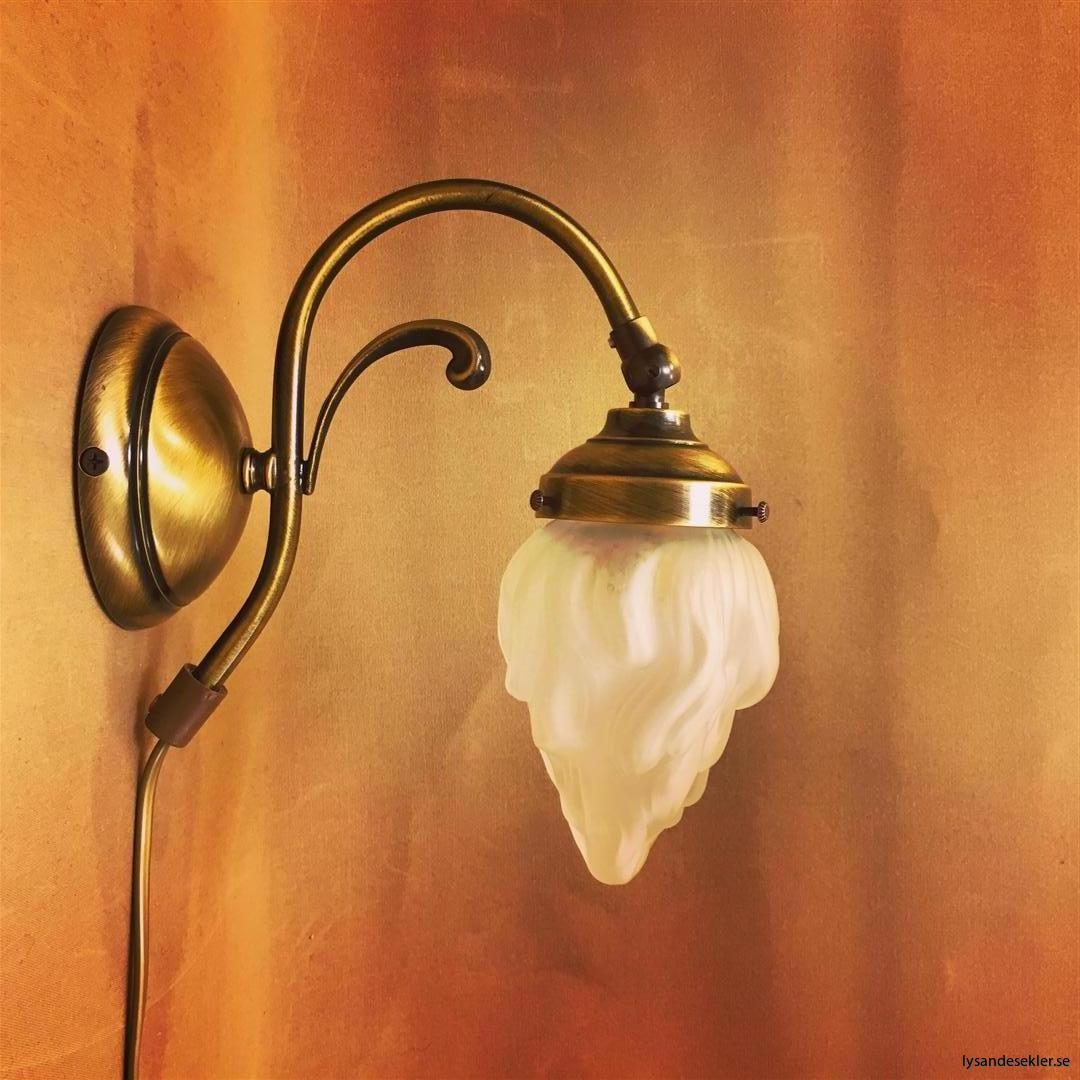 vägglampa jugend mässing elektrisk läslampa (90)