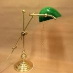 Bankirlampa justerbar i mässing med grön skärm