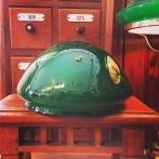 Skärm toppig mörkgrön stor (235 mm) - till Strindbergslampa