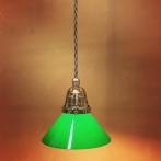 Nickel/grå tygsladd med mörkgrön 15 cm skomakareskärm