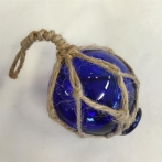 Glaskula i nät blå 5 cm i diameter