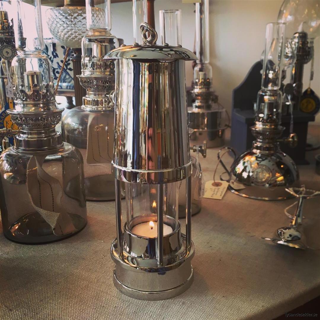 ljusstake värmeljus stormsäker miner's lamp mässing krom (15)