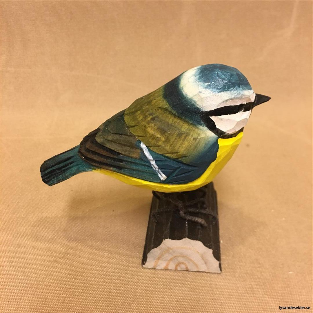 handsnidad blåmes fågel trä dekoration (6)