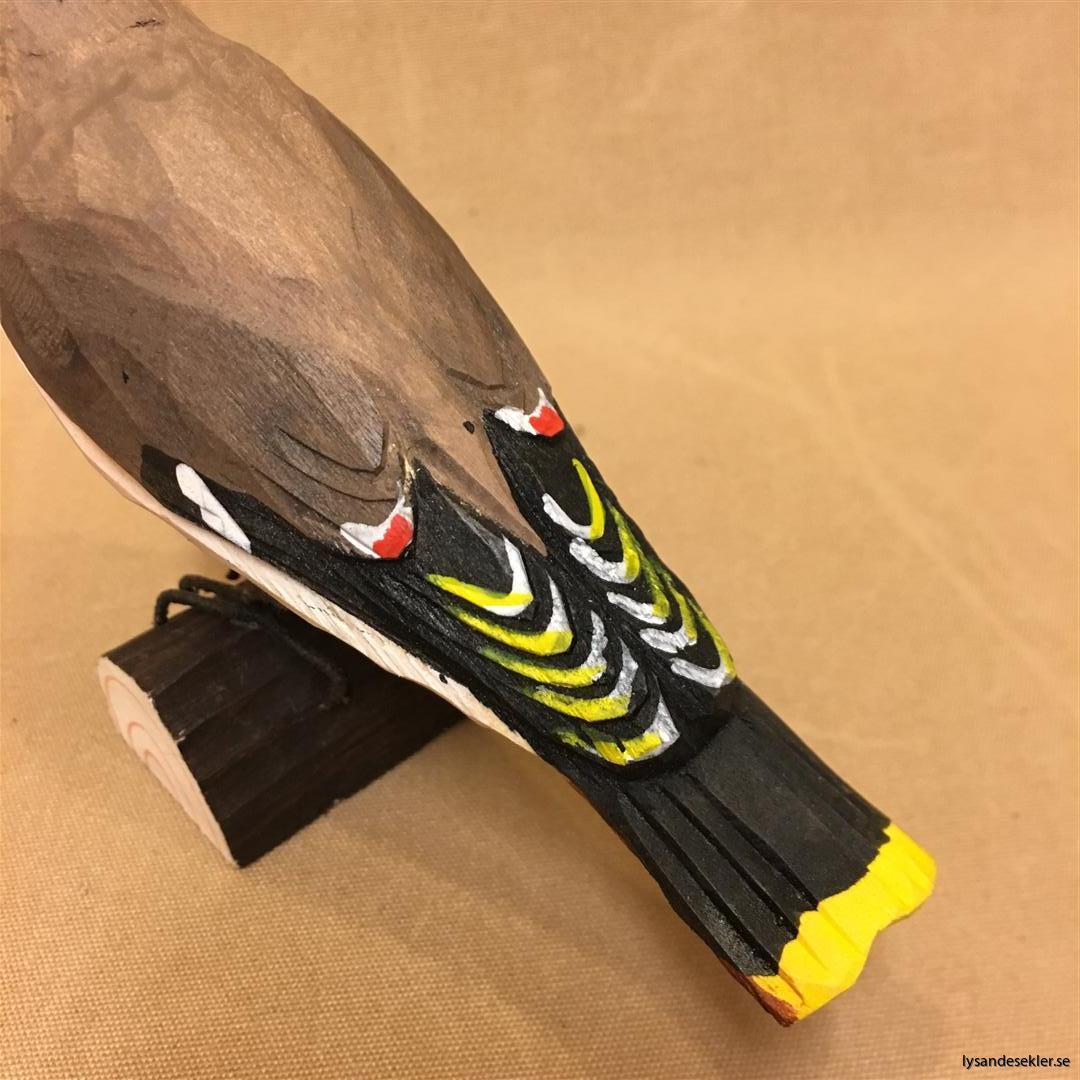 sidensvans handsnidad fågel trä snidad naturlig storlek dekoration (2)