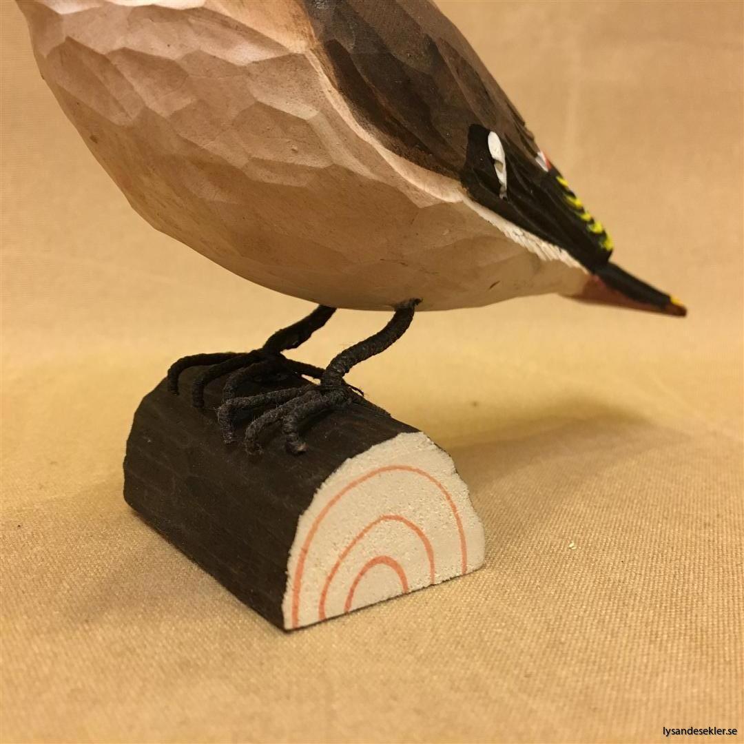 sidensvans handsnidad fågel trä snidad naturlig storlek dekoration (3)