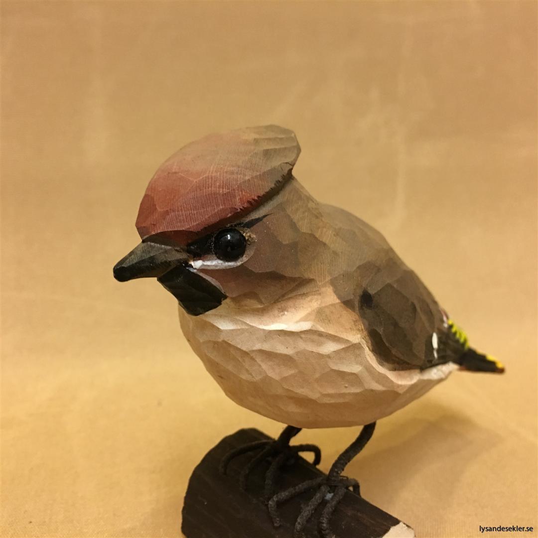 sidensvans handsnidad fågel trä snidad naturlig storlek dekoration (4)