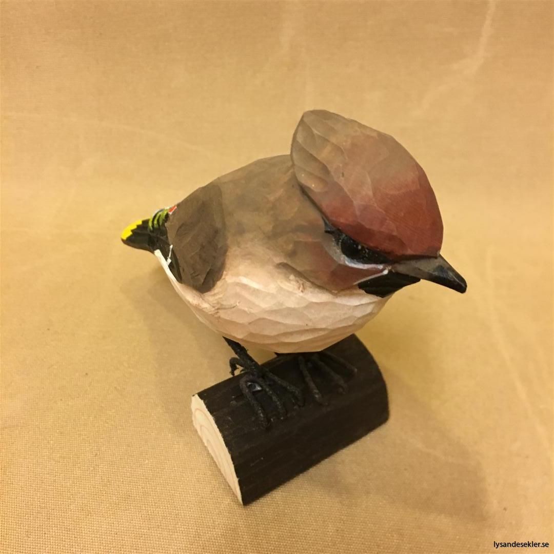 sidensvans handsnidad fågel trä snidad naturlig storlek dekoration (5)