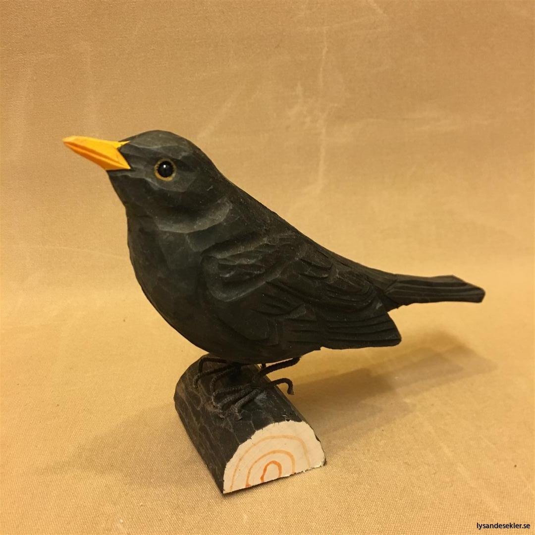 koltrast  handsnidad fågel trä snidad dekoration (1)