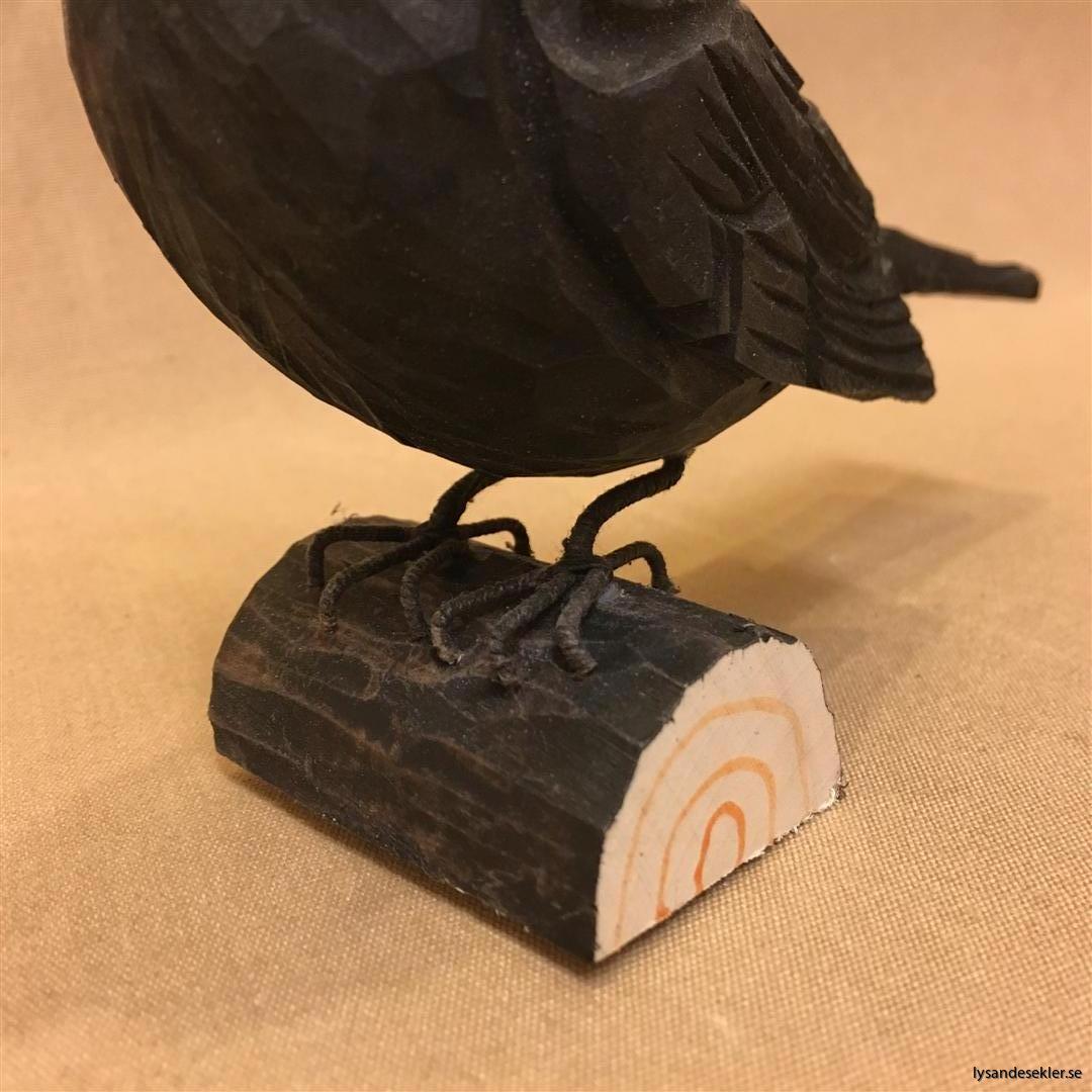 koltrast  handsnidad fågel trä snidad dekoration (2)