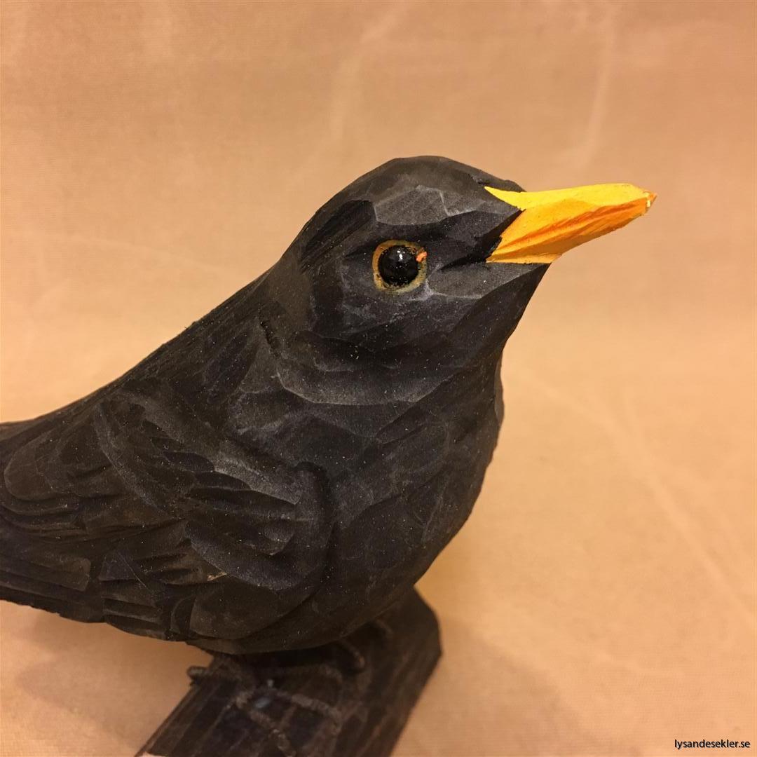 koltrast  handsnidad fågel trä snidad dekoration (3)