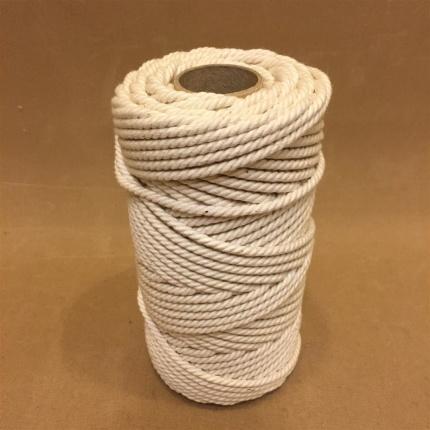 Oblekt bomull 4 mm snöre - 500 gram på rulle - Rulle 0,5 kg oblekt bomull 4 mm