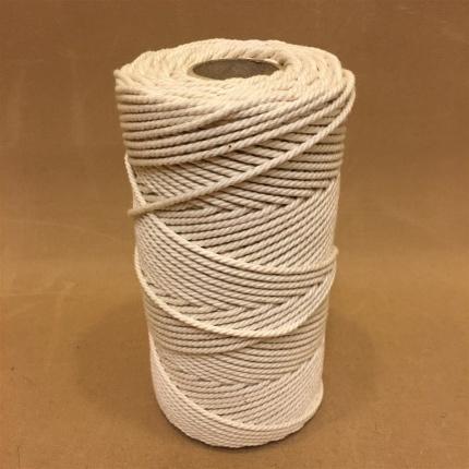 Oblekt bomull 2,5 mm snöre (makramé) - 500 gram på rulle - Rulle 0,5 kg oblekt bomull 12/45