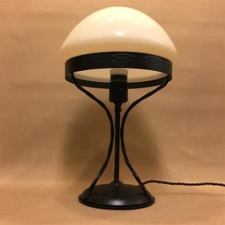 Strindbergslampa 235mm vanilj toppig - Strindbergslampa svart järn + gulvit TOPPIGskärm