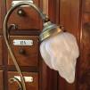 Jugendlampan med lilla flamman frostad - Jugendlampan med slipat frostat glas utsvängt