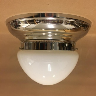 Taklampa ampelplafond opalvit/nickel 31 cm - Taklampa plafond nickel + opalvit ampelskärm 200 mm