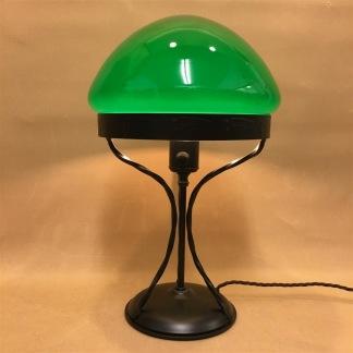 Strindbergslampa 235mm mörkgrön toppig - Strindbergslampa svart järn + mörkgrön TOPPIG skärm