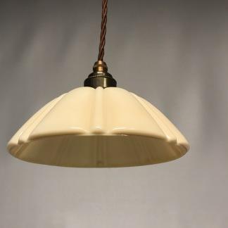 Fönsterlampa med tygsladd (äldre) - Äldre lampskärm + tygsladd brun med 2 ringar
