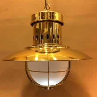 Stor taklampa gallerarmatur mässing med skärm - Fisherman's Lamp DHR