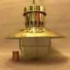 Stor taklampa gallerarmatur mässing med skärm