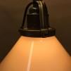 Gul 15 cm skomakarskärm med antikt/brunt tygsladdsupphäng