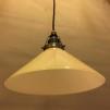 Gul 25 cm skomakarskärm med antikt/brunt tygsladdsupphäng - 250 mm gul hög skomakarelampa med tvinnat brunt tygsladdsupphäng