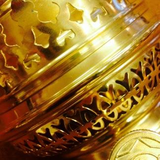 14''' rundbrännare (med 14''' veke) (Brännare till fotogenlampa) - 14''' rundbrännare polerad mässing inkl. veke