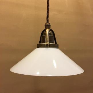 Opalvit 20 cm skomakarskärm med antikt/brunt tygsladdsupphäng - 200 mm vit skomakarelampa med tvinnat brunt tygsladdsupphäng